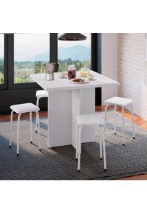 Conjunto De Mesa De Cozinha Com 4 Lugares Verona Corino Branco