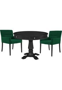 Mesa De Jogos Carteado Redonda Victoria Tampo Reversível Preto Com Kit 2 Cadeiras Vicenza Verde - Gran Belo