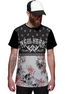 Camiseta Di Nuevo Skull Flowers Caveira New York Preta