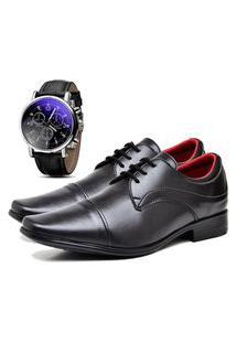 Sapato Social Urbano Com Relógio Masculino Dubuy 832Db Preto