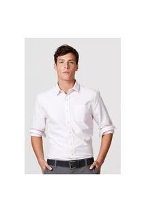 Camisa Básica Masculina Mangas Longas Em Tecido Oxford Branco K48Vn0Asi