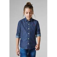 62d3d6e41 Camisa Masculina Infantil Mini Cont Ae Easy Oxford Denim Ml Reserva Mini -  Masculino-Azul
