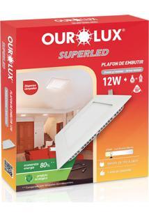 Plafon Quadrado Embutir Branco (2700 K 12W)