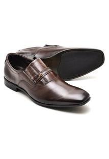Sapato Social Reta Oposta Masculino Couro Confort Marrom