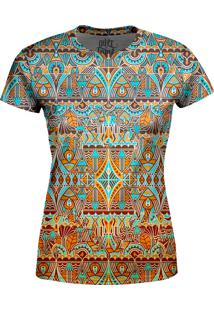 Camiseta Estampada Baby Look Over Fame Tribal Multicolorido