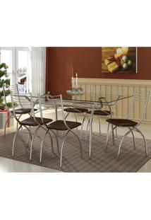 Conjunto De Mesa Com 6 Cadeiras Olivia Napa Cacau
