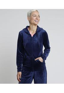 Blusão Feminino Esportivo Ace Em Plush Com Capuz E Bolsos Azul Marinho