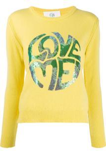 Alberta Ferretti Long Sleeve Sequin-Embellished Logo Pullover - Amarelo