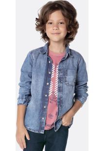 Camisa Jeans Infantil Menino Com Lavação Estonada