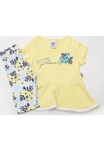 Conjunto Infantil Andritex Short Cotton Estampado Flowers Femenino - Feminino-Amarelo