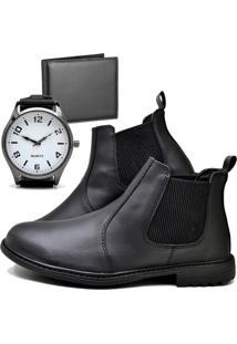 Botina Bota Fashion Com Carteira E Relógio New Masculino Dubuy 258El Preto - Kanui