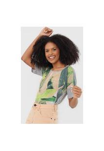 Camiseta Sacada Folhagem Cinza/Verde