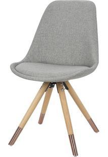 Cadeira Lunes Assento Tecido Cinza Com Base Madeira - 46517 - Sun House