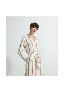 Camisa Manga Longa Em Viscolinho Estampa Listras | Marfinno | Branco | Gg