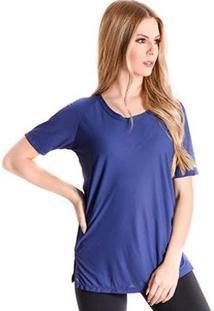 T-Shirt Long Finish Line - Feminino-Marinho