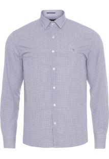 Camisa Masculina Micro Xadrez - Cinza