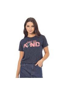 T-Shirt Feminina Com Estampa Escritas E Raio Azul (34294) G Azul
