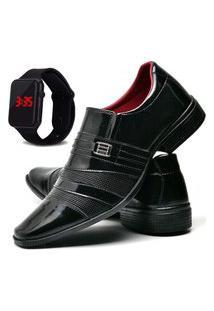 Sapato Social Masculino Db Now Com Relógio Led Dubuy 813Od Preto