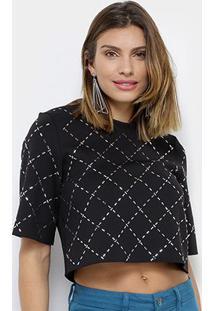 Camiseta My Favorite Thing (S) Cropped Hotfiz Xadrez Feminina - Feminino-Preto