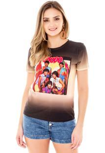 T-Shirt Amora Café Com Estampa Preto