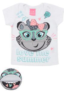 Camiseta Kamylus Menina Animal Print Branca