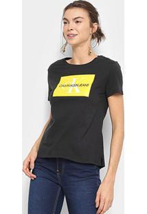 Camiseta Calvin Klein Básica Estampa Logo Feminina - Feminino-Preto