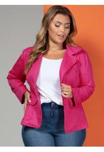 967bce8125 Blazer Em Sarja Pink Plus Size