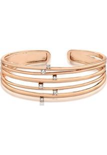 Bracelete Cinco Voltas Com Zircônias Folheado A Ouro Rosê
