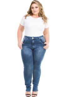 fae58340390c6f Calça Confidencial Extra Plus Size Jeans Cigarrete Com Elastano Feminina -  Feminino-Azul