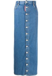 Dsquared2 Saia Jeans Longa Cintura Alta Com Botões - Azul