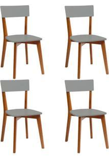 Conjunto Com 4 Cadeiras Tóquio Mel E Cinza
