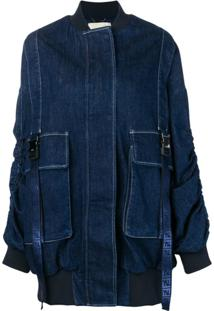 Fendi Jaqueta Bomber Jeans Oversized - Azul