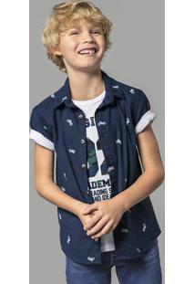 Camisa Infantil Menino Estampada Em Tecido Plano Hering Kids