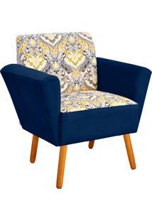 Poltrona Decorativa D'Rossi Dora Estampado D77 Com Suede Azul Marinho