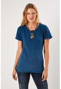 Camiseta Malha Básica Degrade Sacada Feminina - Feminino-Azul Petróleo