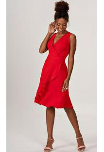 Vestido Vermelho Com Transpasse