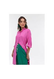 Camisa Lisa Alongada Em Viscolinho   Marfinno   Rosa   G