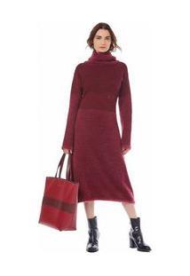 Vestido Midi Gola Alta Basico Vermelho P