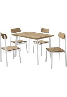 Conjunto De Mesa Com 4 Cadeiras Soria Marrom E Branco