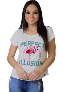 Camiseta Wevans Flamingo Branca