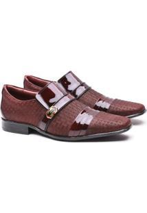 Sapato Social Artesanal Gofer 12403 Masculino - Masculino-Bordô