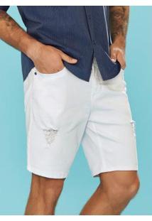 Bermuda Branco Slim Sarja Cintura Média Enfim