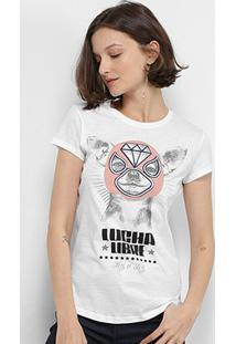 Camiseta Lez Lez Lucha Libre Feminina - Feminino-Branco