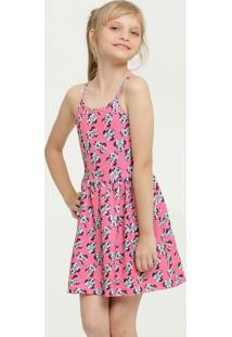 Vestido Infantil Estampa Minnie Alças Finas Disney