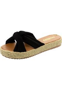 Tamanco Mariha Calçados Flatform Laço Preto