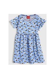 Vestido Manga Curta Tricae Infantil Panda Azul/Branco