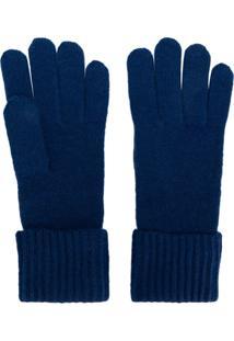 N.Peal Par De Luvas Em Cashmere Canelado - Azul