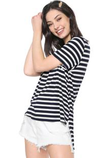 Camiseta Triton Listrada Azul-Marinho/Off-White