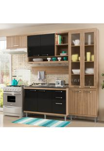 Cozinha Compacta Sem Tampo 9 Portas 5816 Argila/Preto - Multimóveis