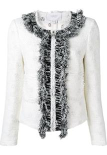 Giambattista Valli Frayed Tweed Jacket - Branco